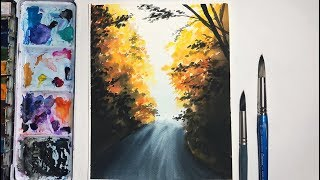 Easy Fall Watercolor Painting Tutorial for Beginners | Watercolor Painting Techniques