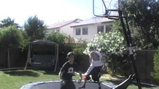 SLAMBALL JOSH & EJ...Trampoline basketball..backyard!