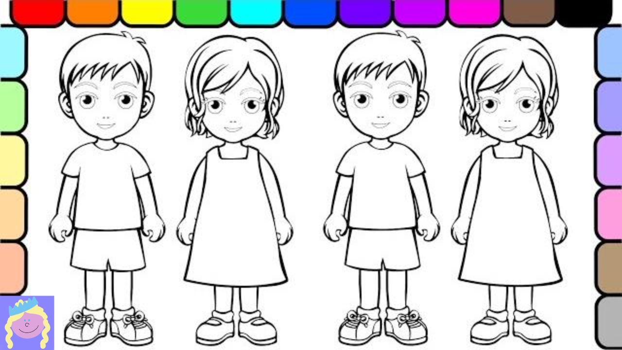 Learn How To Color People With Digital Coloring Book For Kids Youtube