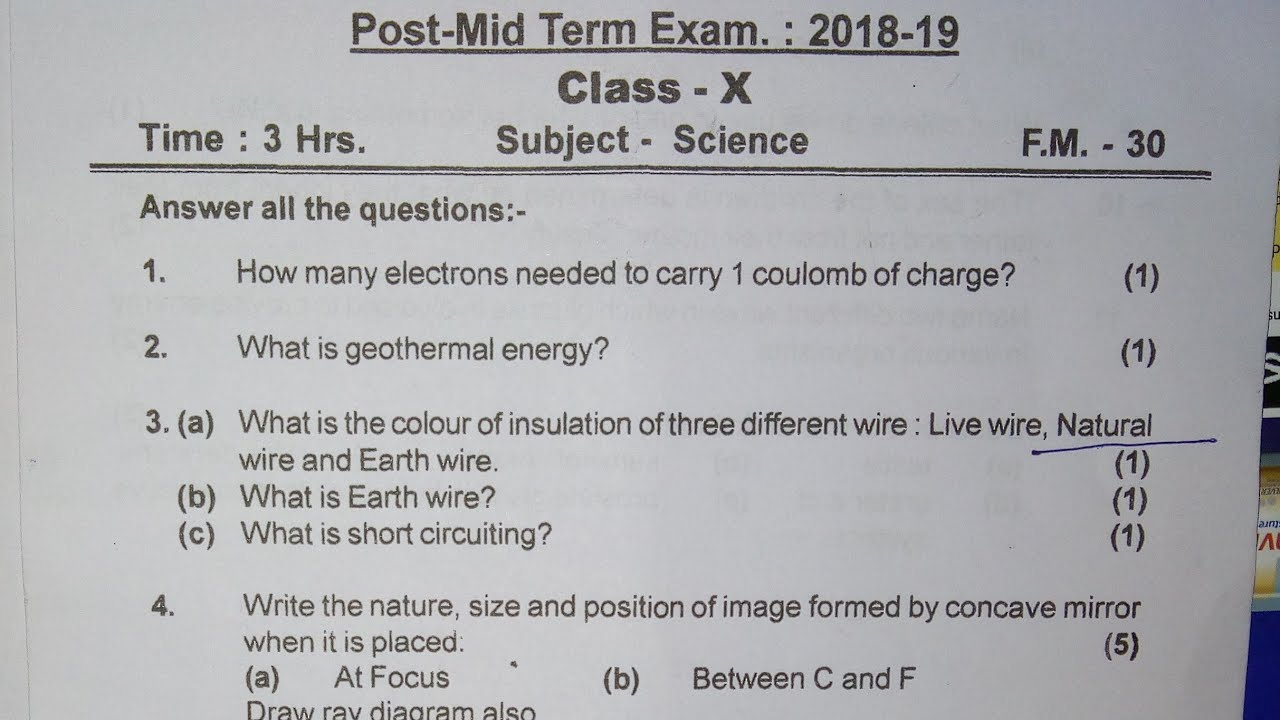Class 10 Science Post Mid-Term Exam Paper 2018-19 for Board Exams