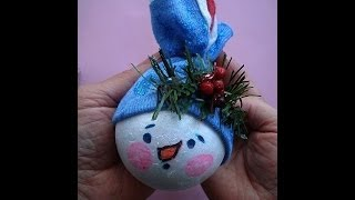 Snowman Christmas Ornament, Easy Holiday Craft Project, Christmas Tree Decoration
