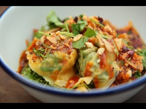 Wontons with spicy peanut sauce ft. Food Busker | The Dumpling Sisters