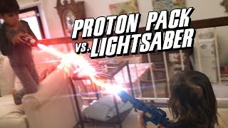 Action Movie Kids Fight: Proton Pack Vs. Lightsaber