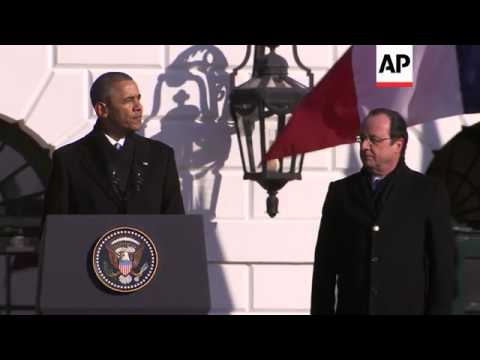 President Barack Obama is welcoming French President Francois Hollande to the White House Tuesday fo