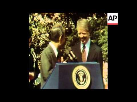 SYND 22 3 77 PRESIDENT CARTER WELCOMES JAPANESE PRIME MINISTER FUKUDA IN WASHINGTON