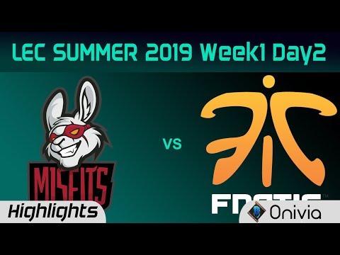 MSF vs FNC Highlights LEC Summer 2019 W1D2 Misfits Gaming vs Fnatic LEC Highlights By Onivia