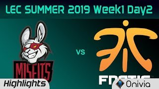 MSF vs FNC Highlights LEC Summer 2019 W1D2 Misfits Gaming vs Fnatic LEC Highlights By Onivia