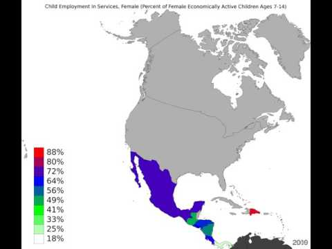 North America - Child Employment In Services, Female - Time Lapse