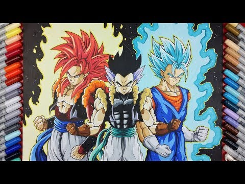 Drawing GOGETA SSj4, VEGITO SSj Blue & Adult GOTENKS | TolgArt
