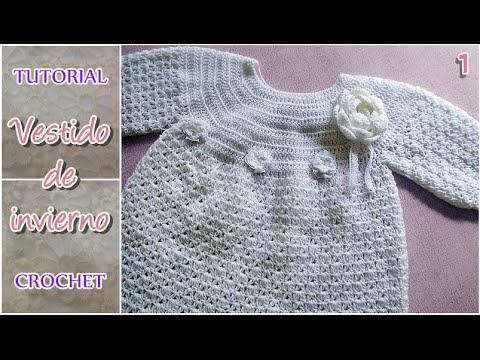Vestidos a crochet de invierno para nina