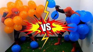 Spider Man Popping Balloons!! Orange Spiderman Vs Blue Spiderman  _ イダーマン