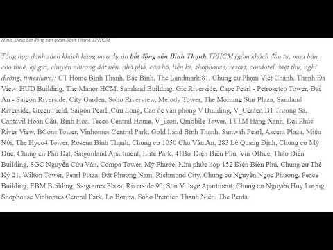 Data bất động sản quận Bình Thạnh TPHCM