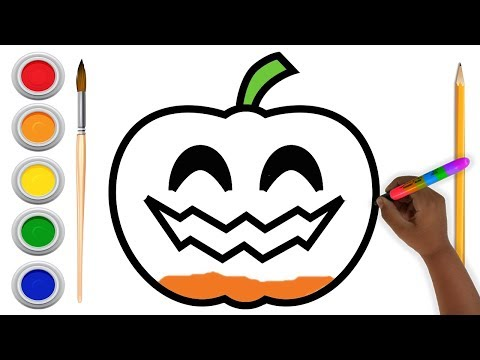 Drawing Halloween Pumpkin for Kids, Coloring ,Toddlers, Aysha drawing for Kids