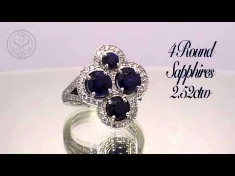 Sapphire & Diamond Platinum Cross Ring