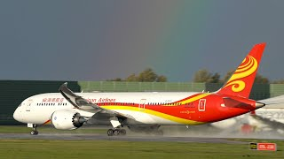Rainbows, Rain & Sun - Changeable Weather Plane Spotting at Manchester Airport - 787's Galore