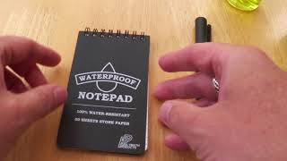 Polymath Products Stone Paper notebook and pressurised Pen.  Review by UK EDC.