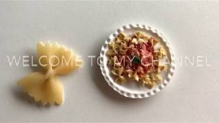 Farfalle Pasta Polymer clay : Miniature DIY