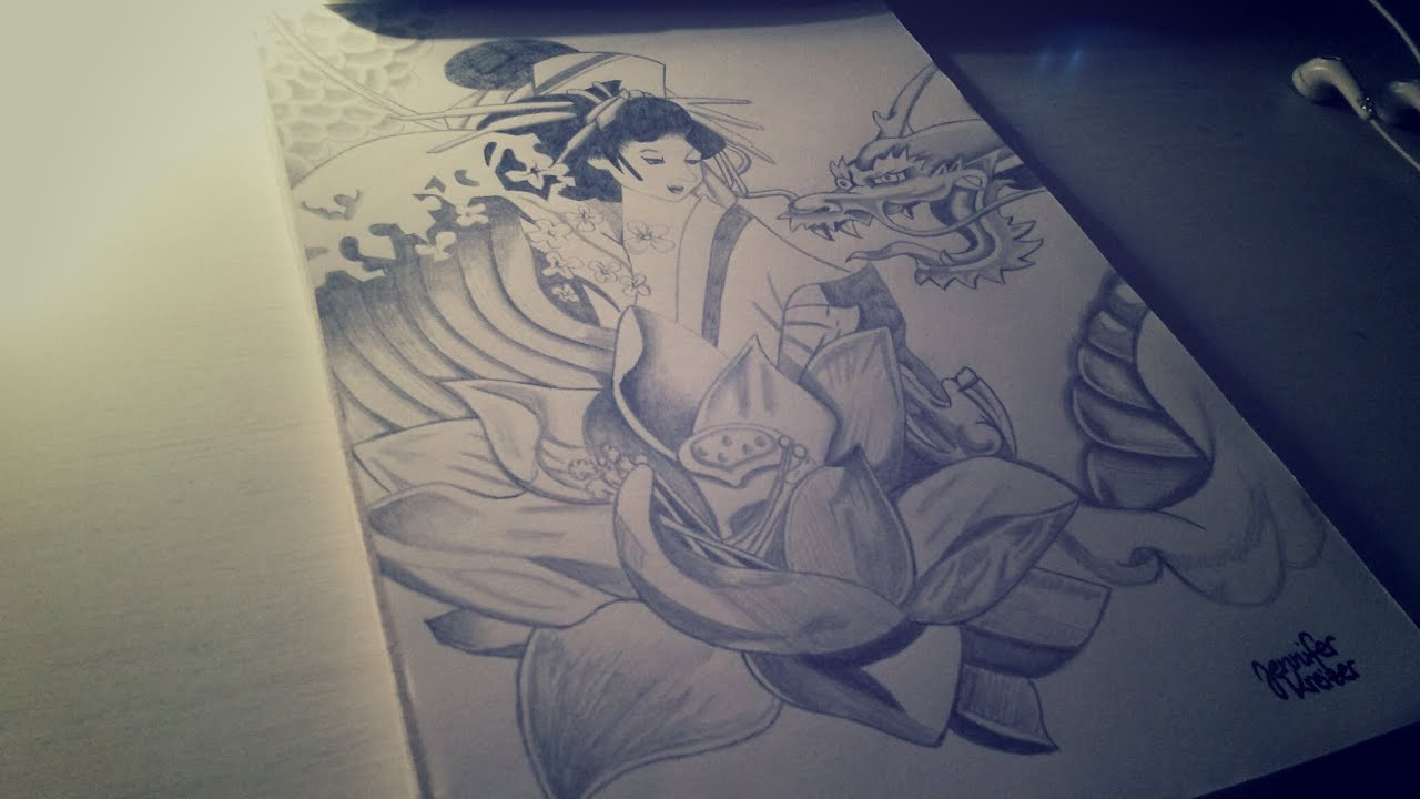 Speed Drawing: How To Draw A Japan Girl Flower And A Dragon Youtube Jpg  2048x1152
