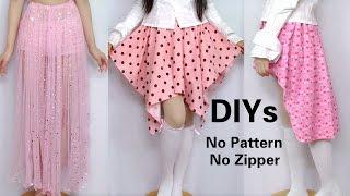 3 Cute Skirt DIYs for Beginners: DIY Long Skirt+ High-low Skirt+Asymmetrical skirt(from scratch)