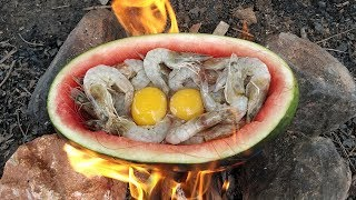 Yummy Cooking Shrimp in Watermelon Fruit