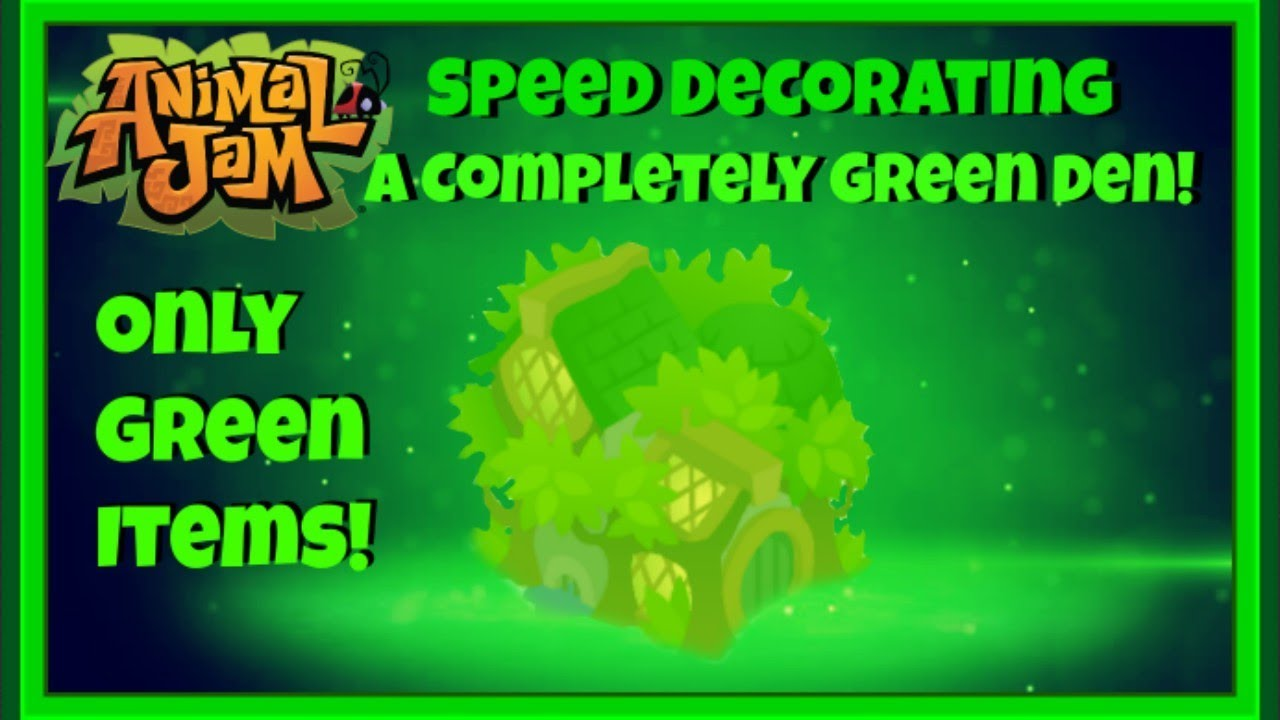 Download Animal Jam: Speed Decorating A Completely Green Den! Only Green Items! {Uniquely Unicolor Series}