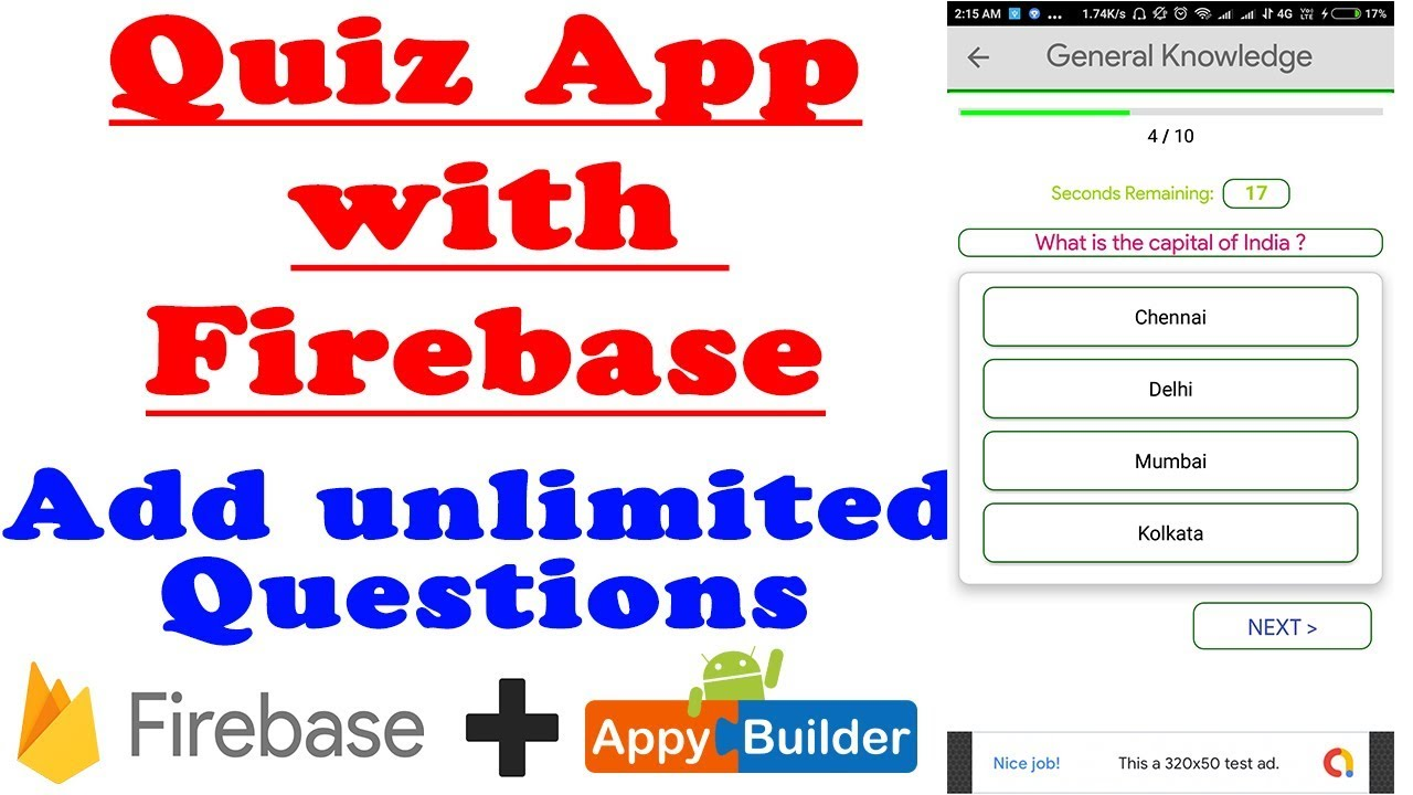 2019) Quiz App with Firebase + Admin Panel App + Unlimited Questions