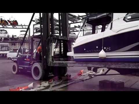 Lifting an Antares 8 at Saxon Wharf, Southampton or survey.