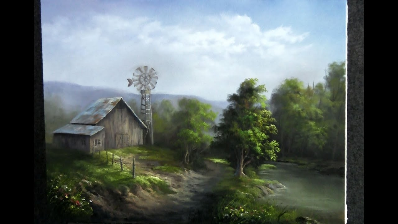 Paint with kevin country barn youtube for Oil paintings of houses