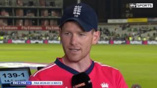 England v Pakistan T20 2016, Sarfaraz Ahmed & Eoin Morgan After Pakistan Victory vs England 1