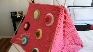 Sewing Crochet Triangles - In The Dog House Pet Bed #7