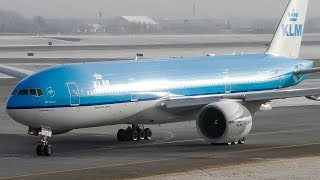 KLM Boeing 777-200ER Close Up Taxi and Takeoff from Calgary Airport