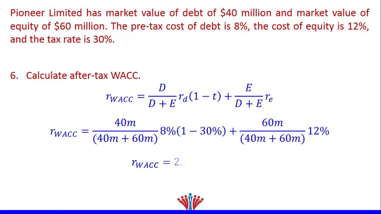 How to calculate wacc (simple example) weighted average cost of.