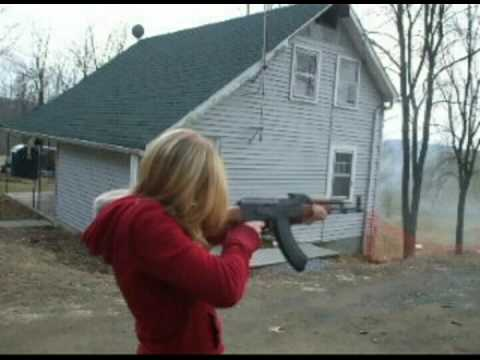 Girl shoots AK-47 for the first time - YouTube