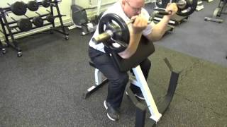 York FTS preacher curl machine