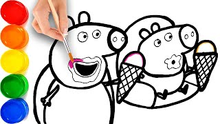 Peppa Pig and George Eating Ice Cream Drawing & Coloring for Kids, Toddlers
