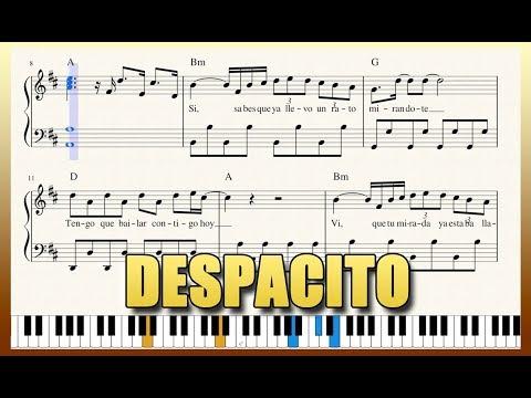 """Despacito"" - Piano Tutorial + Free Sheet Music with lyrics - Luis Fonsi | George Vidal"