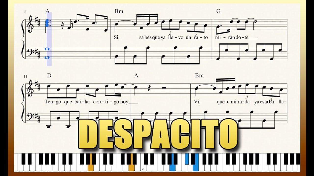 """Despacito"" - Piano Tutorial + Free Sheet Music with"