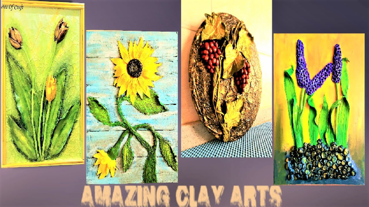 Clay Art Painting Ideas On Canvas Diy 4 Best Home Decor Air Dry