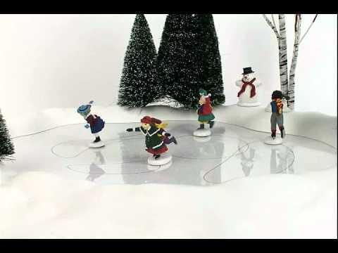 Christmas Village Ice Skating Rink.Department 56 New Animated Skating Pond 801130 Animated Village Accessory