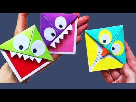 Origami Paper Monster & Owl Corner Bookmarks | DIY Origami Paper Craft