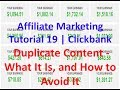 Affiliate Marketing Tutorial 19 | Clickbank | Duplicate Content - What It Is, and How to Avoid It