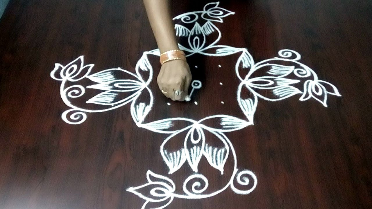 Latest Beautiful Rangoli Kolam With 9 x 1  Dots || Simple Leaf And Flower Design || Fashion World