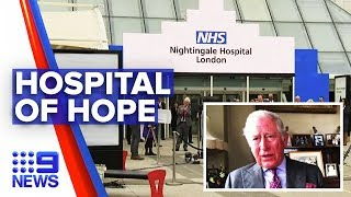 Gambar cover Coronavirus: Prince Charles opens hospital after rising death toll | Nine News Australia