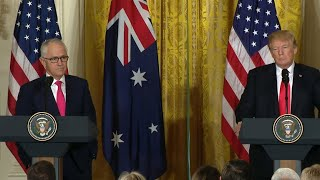 Trump takes questions during join press conference with Australian PM