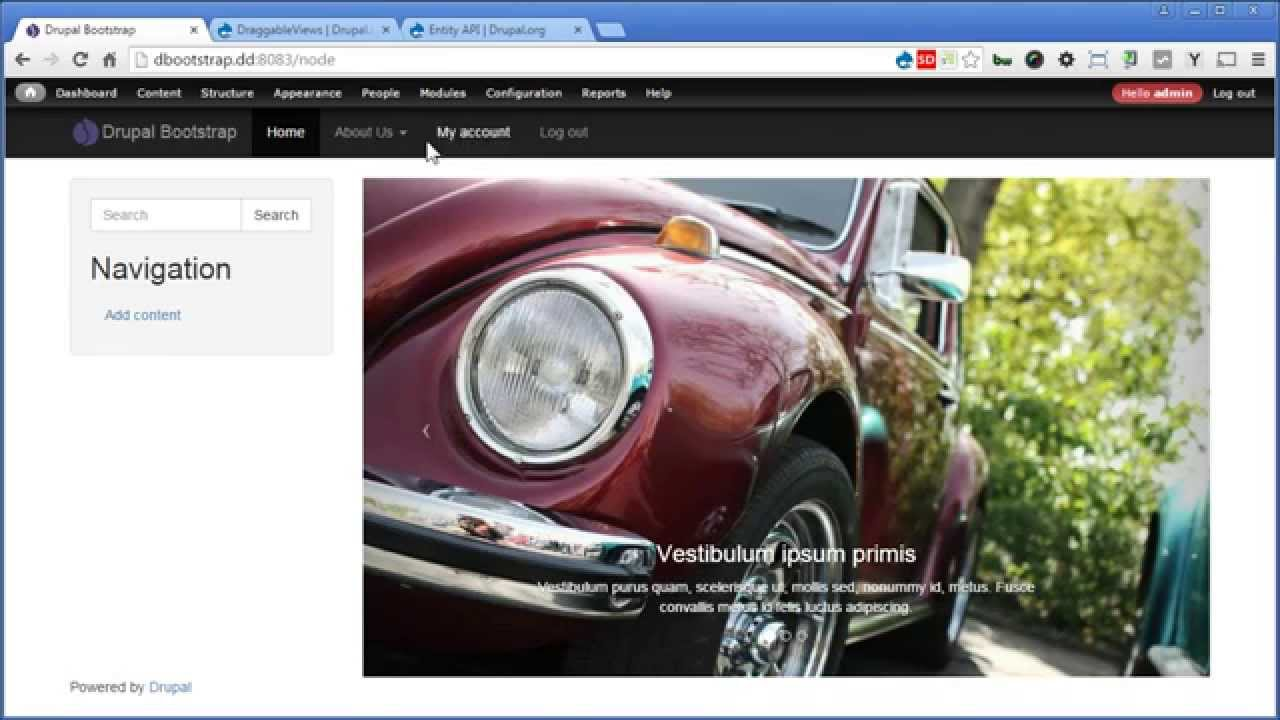 Drupal Bootstrap - 13 - Creating Carousel Slideshow - PART II - Sorting  Slide With Draggable Views