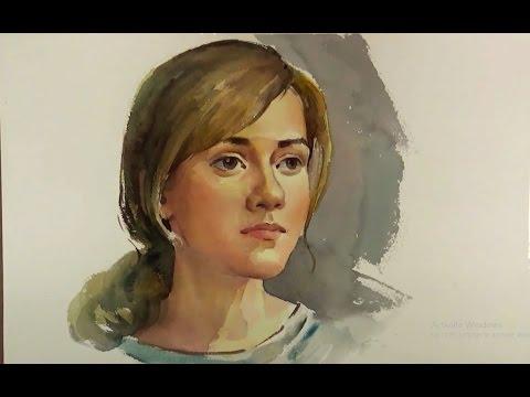 Watercolor painting Portrait Of Beautiful Girl