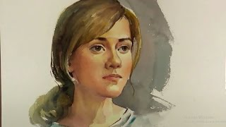Watercolor painting Portrait Of Beautiful Girl