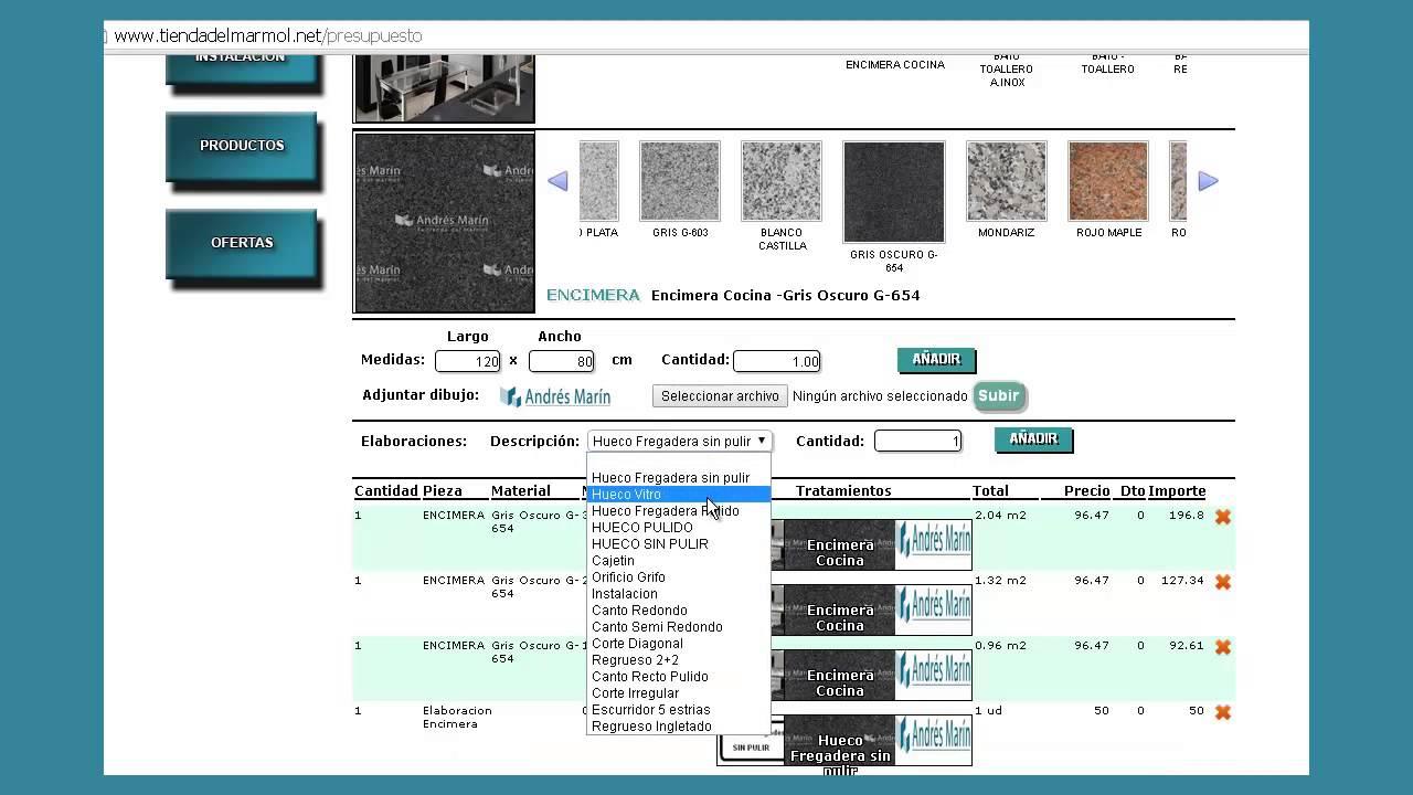 Precios encimeras granito online marmoles andres marin sl for Encimera granito precio m2