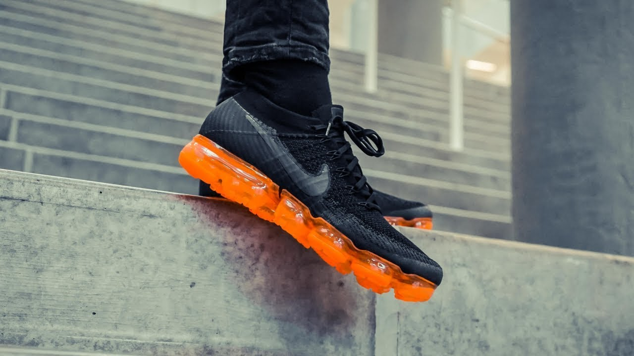 "15ca045990 Nike Air Vapormax Flyknit ""Black Pop"" | ON FEET - YouTube"