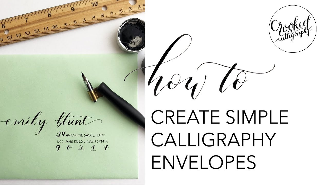Simple beginner calligraphy envelope crooked calligraphy Calligraphy youtube